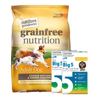 The Big 5 Protection Pack Yellow 4kg-5.5kg 6 Pack With Natures Goodness Grain Free Chicken Duck Vegetables Dry Dog Food 20kg
