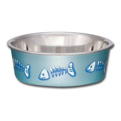 Loving Pets Bella Bowl Non Skid Stainless Steel Blue Fish XSmall For Cats 240mL