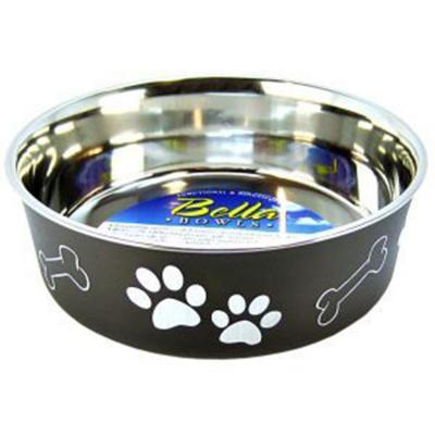 Loving Pets Bella Bowl Non Skid Stainless Steel Espresso Medium For Dogs 750mL
