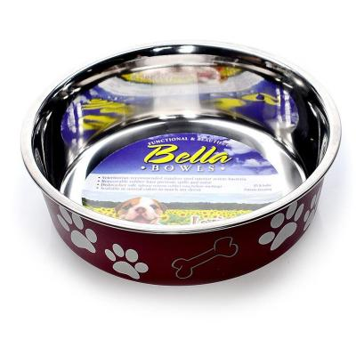 Loving Pets Bella Bowl Non Skid Stainless Steel Merlot Large For Dogs 1.5L