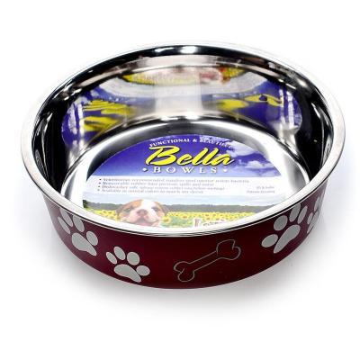 Loving Pets Bella Bowl Non Skid Stainless Steel Merlot Medium For Dogs 750mL