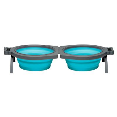 Loving Pets Bella Roma Double Diner Silicone Travel Bowl Blue Medium For Cats And Dogs