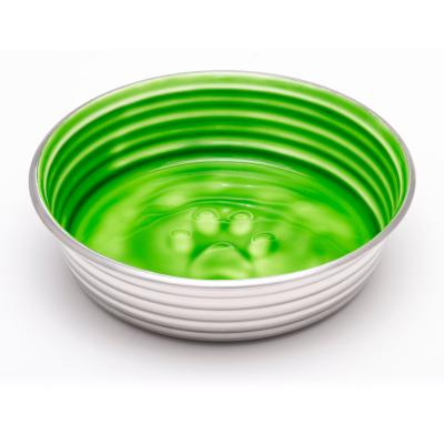 Loving Pets Le Bol Bowl Non Skid Stainless Steel Chartreuse Green XSmall For Cats And Dogs