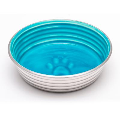 Loving Pets Le Bol Bowl Non Skid Stainless Steel Seine Blue Medium For Dogs
