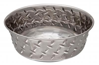 Loving Pets Ruff N Tuff Diamond Chequer Plate Non Skid Stainless Steel Bowl For Dogs 950mL