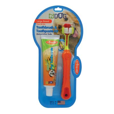 TriplePet EZDOG Dental Kit With Toothbrush And Toothpaste 74mL For Large Dogs
