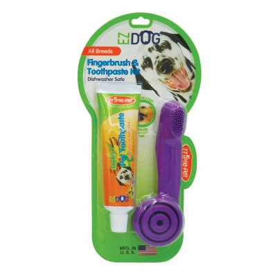 TriplePet EZDOG Finger Toothbrush Kit With Toothpaste 74mL For Dogs