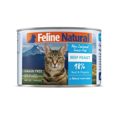 Feline Natural Grain Free Beef Feast Canned Wet Meat Cat Food 170gm x 24