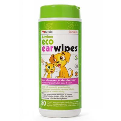 Petkin Bamboo Eco Ear Wipes For Dogs And Cats 80 Pack