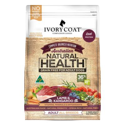 Ivory Coat Natural Health Grain Free Lamb And Kangaroo Adult Dry Dog Food 2kg