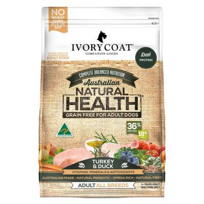 Ivory Coat Natural Health Grain Free Turkey And Duck Adult Dry Dog Food 13kg