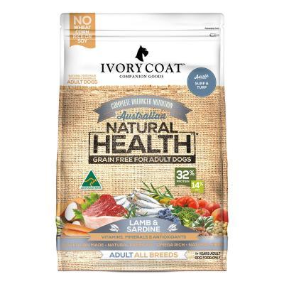 Ivory Coat Natural Health Grain Free Lamb And Sardine Adult Dry Dog Food 13kg