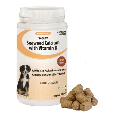 Vetnex Seaweed Calcium With Vitamin D Soft Chews Beef Liver Flavour For Dogs 135g
