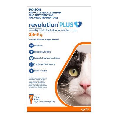 Revolution Plus For Medium Cats 2.6-5kg 6 Pack