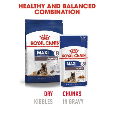 Royal Canin Maxi Ageing 8+ Years In Gravy Pouches Wet Dog Food 10 x 140g