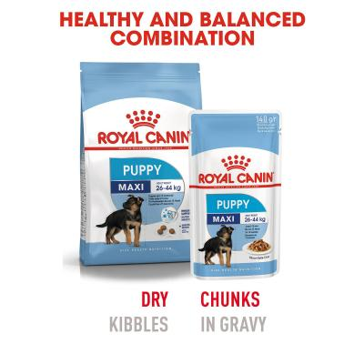 Royal Canin Maxi Puppy In Gravy Pouches Wet Dog Food 10 x 140g