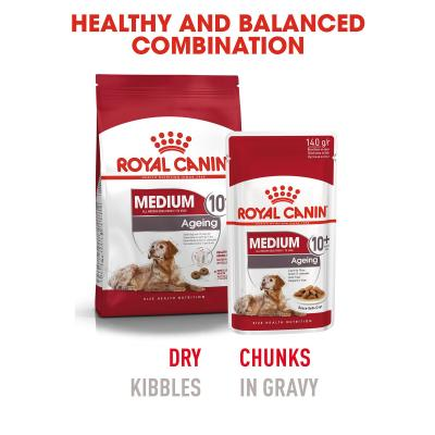 Royal Canin Medium Ageing 10+ Years In Sauce Pouches Wet Dog Food 10 x 140g