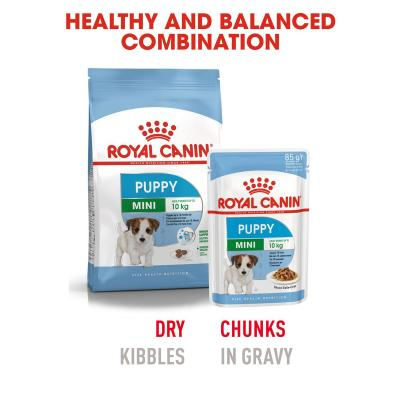 Royal Canin Mini Puppy In Gravy Pouches Wet Dog Food 48 x 85g