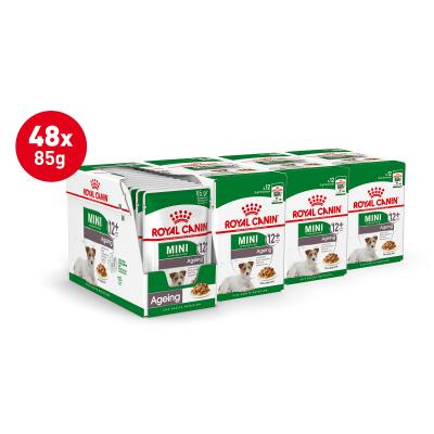 Royal Canin Mini Ageing In Gravy Pouches Wet Dog Food 48 x 85g