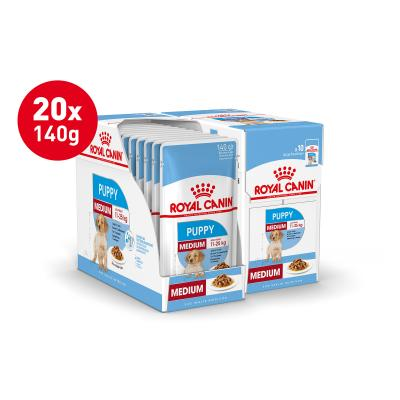 Royal Canin Medium Puppy In Gravy Pouches Wet Dog Food 20 x 140g