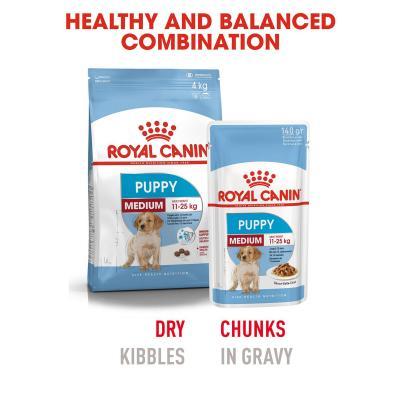 Royal Canin Medium Puppy In Gravy Pouches Wet Dog Food 20 x 140g