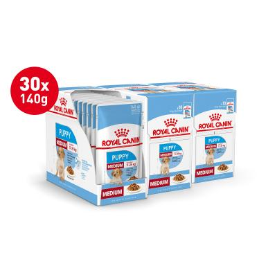 Royal Canin Medium Puppy In Gravy Pouches Wet Dog Food 30 x 140g