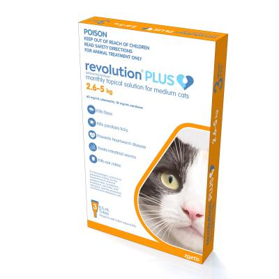 Revolution Plus For Medium Cats 2.6-5kg 3 Pack