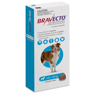 Bravecto For Large Dogs 20-40kg 1 Chew
