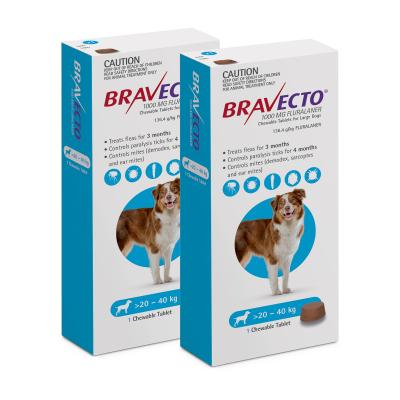 Bravecto for Large Dogs 20-40kg 1 Chew X 2