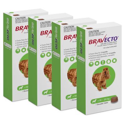 Bravecto For Medium Dogs 10-20kg 1 Chew X 4
