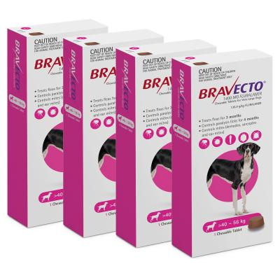 Bravecto For Very Large Dogs 40-56kg 1 Chew X 4