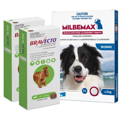 Bravecto Chew & Milbemax Allwormer Bundle For Dogs 10-20kg