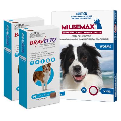 Bravecto Chew & Milbemax Allwormer Bundle For Dogs 20-25kg