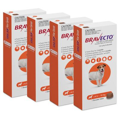 Bravecto For Small Dogs 4.5-10kg 1 Chew X 4