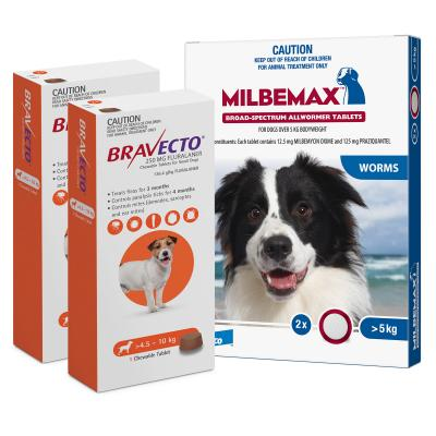Bravecto Chew & Milbemax Allwormer Bundle For Dogs 5-10kg