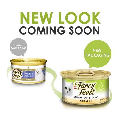 Fancy Feast Grilled Salmon Feast In Gravy Adult Canned Wet Cat Food 85g x 48