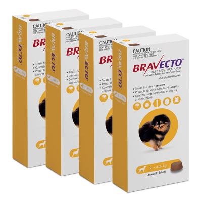 Bravecto For Very Small Dogs 2-4.5kg 1 Chew X 4