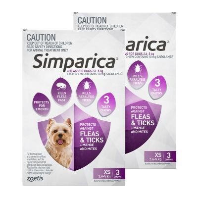 Simparica For Dogs 2.6 - 5kg Purple XSmall 6 Chews