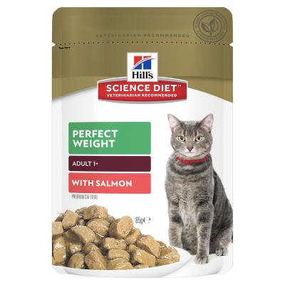 Hills Science Diet Adult Perfect Weight Salmon Pouches Wet Cat Food 85gm x 12