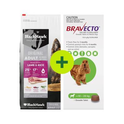 Black Hawk Food Plus Bravecto Single Chew For Dogs
