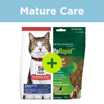 Hills Science Diet Mature Food Plus Vitarapid Supplement Treats For Cats
