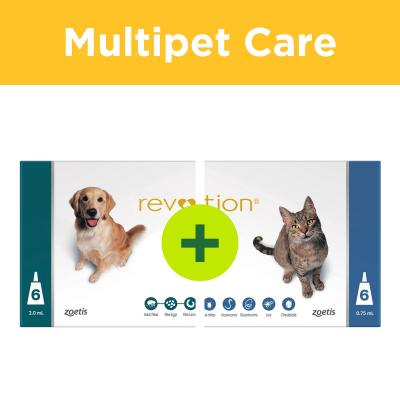 Multipet Plus - Revolution 6 Month Flea And Worm Prevention Treatment For Cats And Dogs