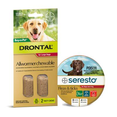 Advantage Seresto Flea And Tick Collar For Dogs Over 8kg + Drontal Allwormer For Dogs Up To 35kg 2 Chews