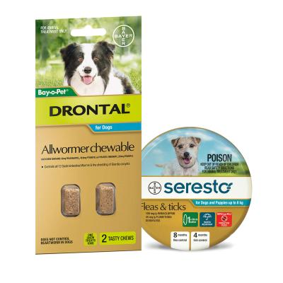 Advantage Seresto Flea And Tick Collar For Dogs And Puppies Up To 8kg + Drontal Allwormer For Dogs Medium 3-10kg 2 Chews