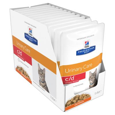 Hills Prescription Diet Feline c/d Urinary Care Multicare Stress Chicken Pouches Wet Cat Food 85gm x 12
