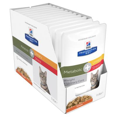 Hills Prescription Diet Feline Metabolic + Urinary Stress Chicken Pouches Wet Cat Food 85gm x 12