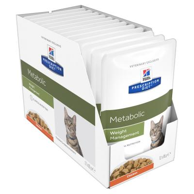 Hills Prescription Diet Feline Metabolic Chicken Pouches Wet Cat Food 85gm x 12