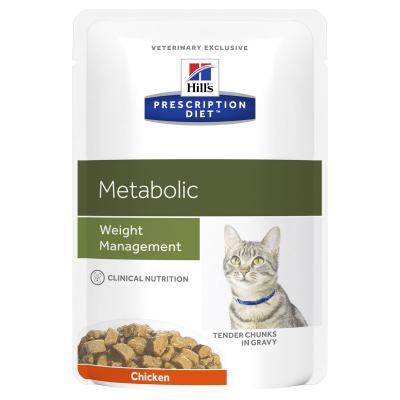 Hills Prescription Diet Feline Metabolic Chicken Pouches Wet Cat Food 85gm x 12