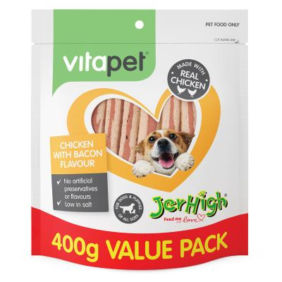 Vitapet Jerhigh Chicken And Bacon Treats For Dogs 400gm