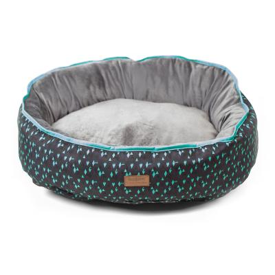 Kazoo Funky Teal Grey Black Medium Cushion Bed For Dogs (75 x 65cm)